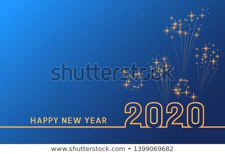 Gelukkig nieuwjaar ontwerp rat goud illustratie gras Stockfoto © bluering