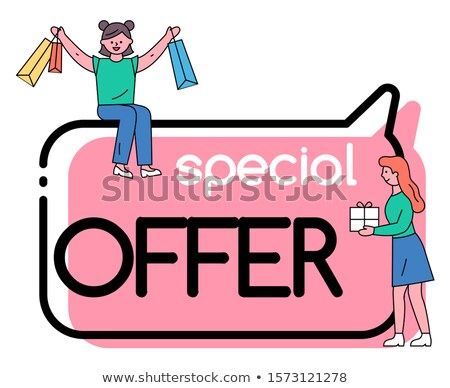 Special Offer Promo Poster with Clients and Bags Stock photo © robuart
