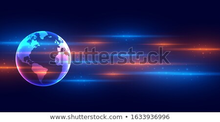 digital technology earth concept banner with light streaks Stock photo © SArts