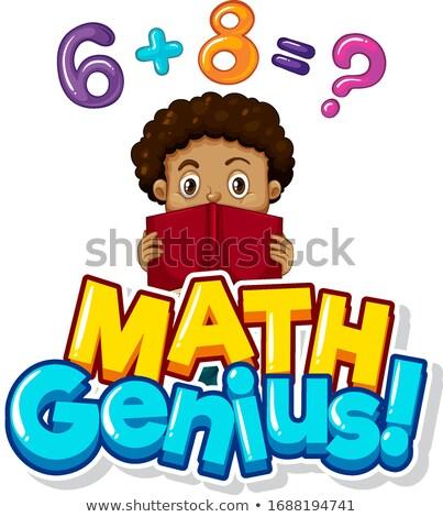 Doopvont ontwerp math genie jongen huiswerk Stockfoto © bluering