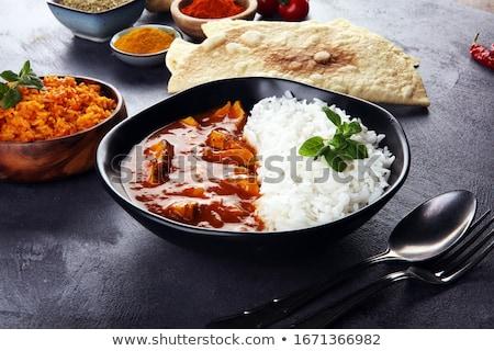 Forró piros curry rizs fűszeres zöldség Stock fotó © Peteer