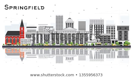 Springfield Skyline with Gray Buildings and Blue Sky. Stock photo © ShustrikS