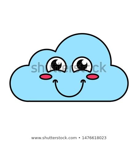 Felhő emotikon skicc illusztráció közösségi média rajz Stock fotó © barsrsind