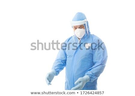 Arbeitnehmer tragen Gesicht Schirm Gesundheitswesen industriellen Stock foto © lovleah