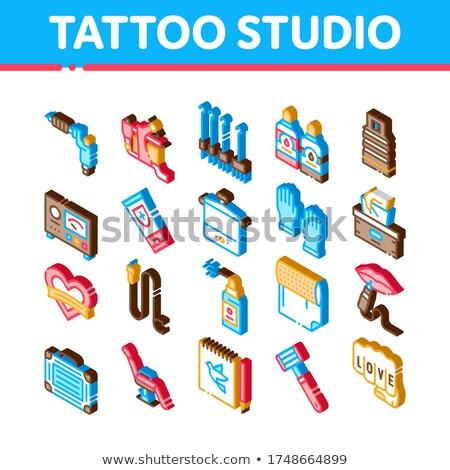 Tatuagem estúdio ferramenta isométrica vetor Foto stock © pikepicture
