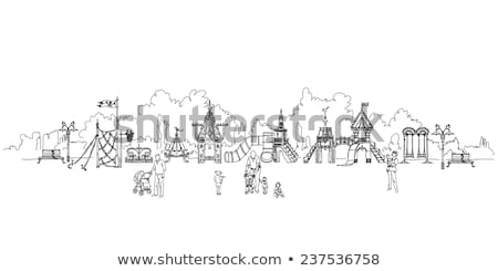 Children playground illustration. Child climbs to the slide. Summer leisure, vacation, holidays Stock photo © robuart