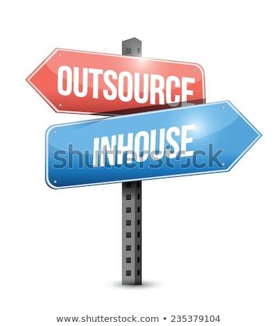 Outsourcing verkeersbord groene wegteken wolk weg Stockfoto © kbuntu