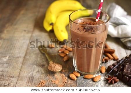 üveg · csokoládé · smoothie · izolált · fehér · jég - stock fotó © duoduo