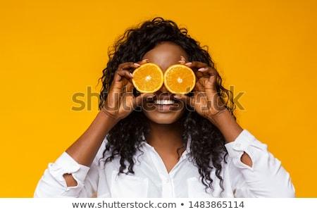 Foto d'archivio: Bella · african · american · donna · frutta · arancione · giovani · up
