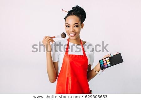 femme · cil · brosse · belle · jeunes - photo stock © darrinhenry