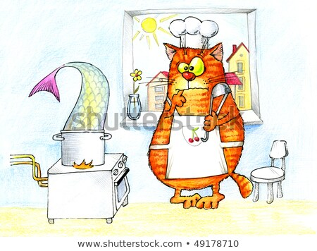 cat tries to cook a very big fish in a small saucepan Stock photo © ddvs71