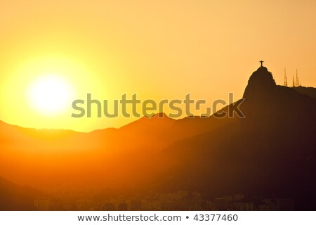 sunset views of jesus and corcovado from sugar loaf mountain stock photo © epstock