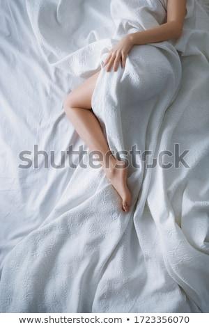 gyönyörű · karcsú · lábak · nő · csipke · zokni - stock fotó © hitdelight