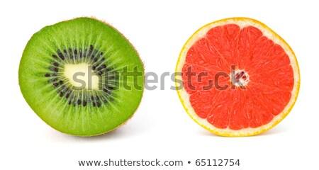 Kettő keresztmetszet grapefruit izolált fehér közelkép Stock fotó © boroda