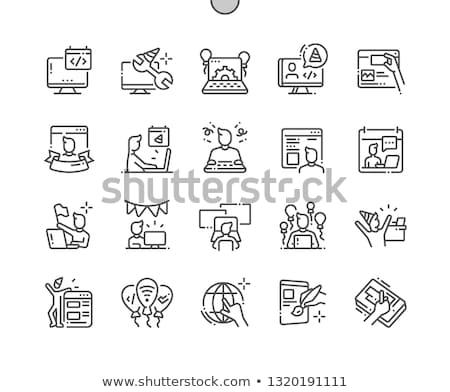 Webmaster escuro quadro-negro ilustração computador projeto Foto stock © kbuntu