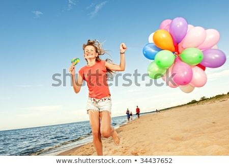 adolescentes · playa · cielo · agua · pelo - foto stock © photography33
