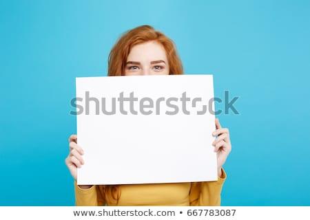 にログイン · 女性 · 白 · ポスター - ストックフォト © photography33