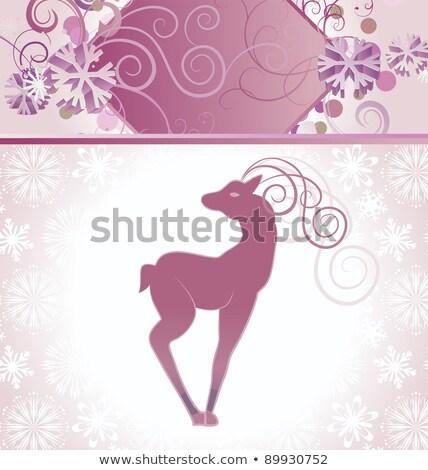 vector christmas decor card with hand drawn deer honeysuckle col Stock photo © cherju