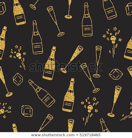 champanhe · vidro · cortiça · pintado · madeira · branco - foto stock © grafvision