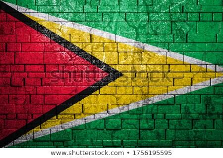Foto stock: Bandeira · Guiana · parede · de · tijolos · pintado · grunge · textura