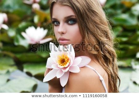 beauty girl with lily Stock photo © carlodapino