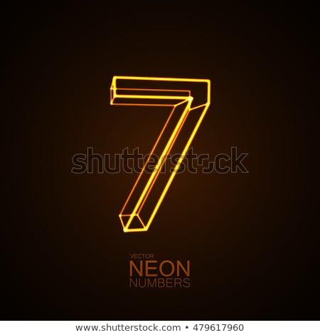 Aantal zeven cijfer neon licht natuurlijke Stockfoto © deyangeorgiev