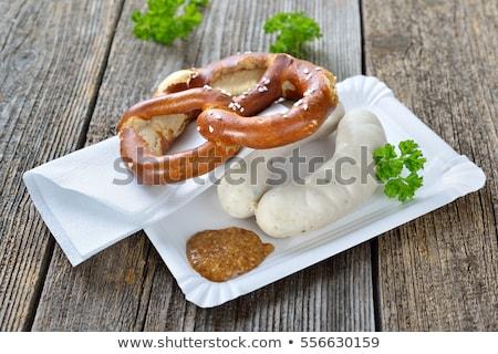 witte · worstjes · zoete · mosterd · zoute · krakeling · traditioneel - stockfoto © juniart