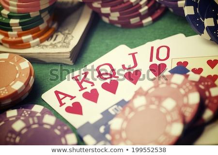 linha · pôquer · jogos · de · azar · batatas · fritas · cartões · verde - foto stock © wavebreak_media