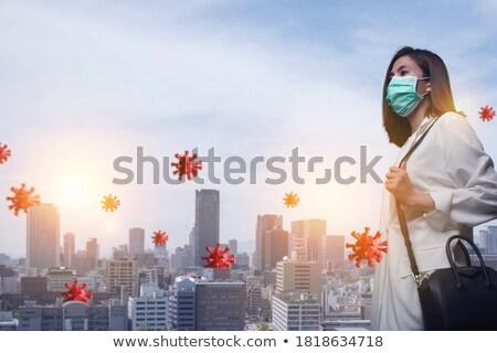 Chemicznych walka żołnierz maska wskazując Zdjęcia stock © stokkete