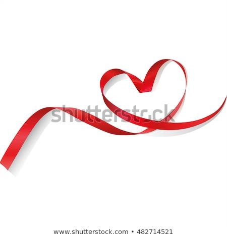 szalag · szív · vörös · szalag · izolált · fehér · szeretet - stock fotó © deomis