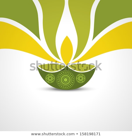 beautiful diwali lamp creative colorful wave vector stock photo © bharat