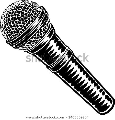 Microphone Icon on Retro Striped Background. Stock photo © tashatuvango