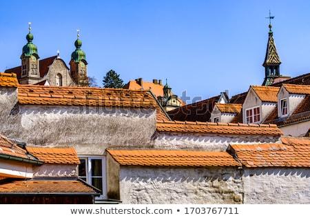 Panoráma délelőtt kilátás középkori város ház Stock fotó © faabi