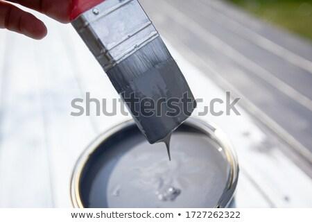 Kész festék konzervdoboz nyitva ecset felső Stock fotó © hyrons
