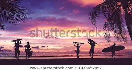 Silhueta surfista pôr do sol surfistas laranja onda Foto stock © chris2766