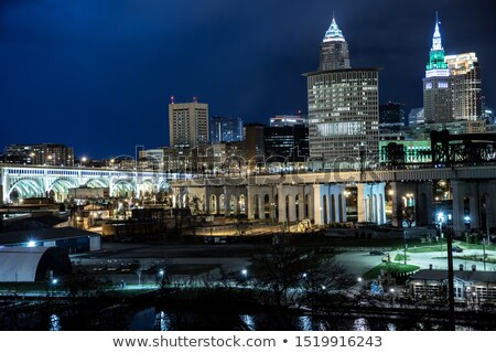 Cleveland downtown street view at night Stock photo © alex_grichenko