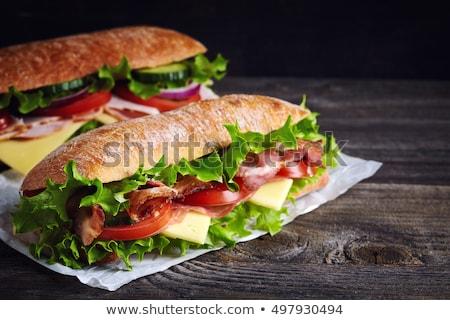 круассан · сэндвич · каменные · таблице · французский · завтрак - Сток-фото © m-studio
