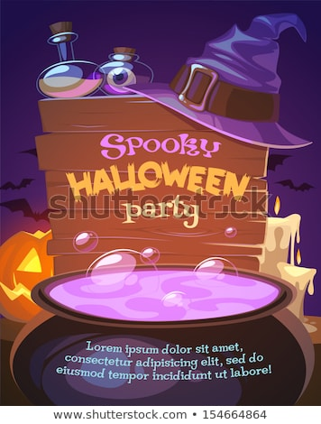 Halloween illustration with witch and crafting pot Stock photo © Elmiko