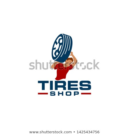 man with tire silhouettes Stock photo © Slobelix