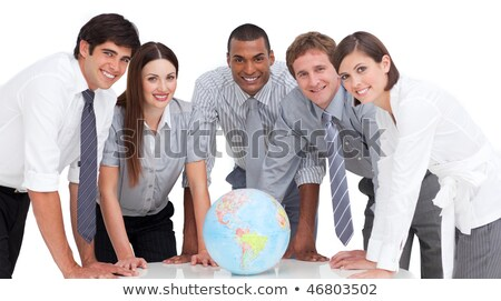 Group of men holding a terrestrial globe Stock photo © gemenacom