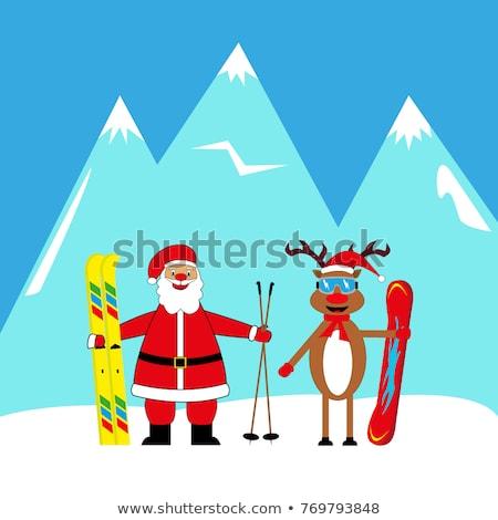 Mikulás síelő illusztráció tájkép hó felirat Stock fotó © adrenalina