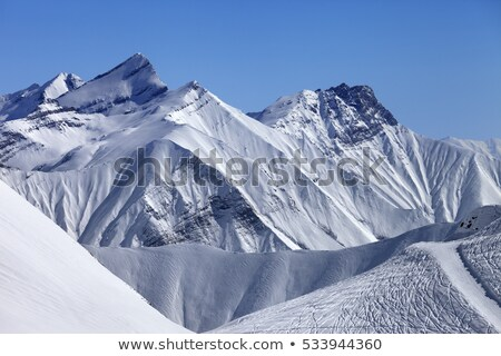 top view on off piste slope in sun day stock photo © bsani