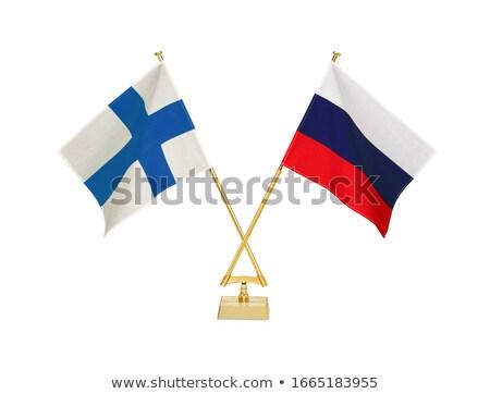Rússia Finlândia miniatura bandeiras isolado branco Foto stock © tashatuvango