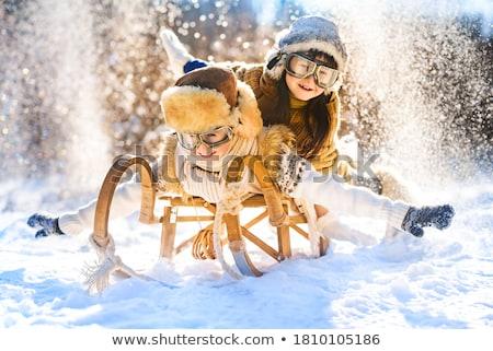 девушки зима Дания дети снега Сток-фото © jeancliclac