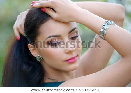 Luxus portré gyönyörű lány arany ékszer göndör haj Stock fotó © fotoduki