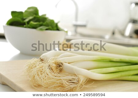 raw leeks on the countertop of a kitchen Stock photo © nito