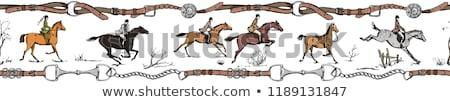 Engels stijl paard zadel bruin leder Stockfoto © PixelsAway