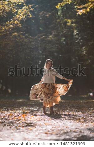 nő · haute · couture · erdő · kint · elegáns · vörös · ruha - stock fotó © anna_om
