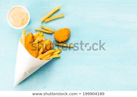 Kilátás hal sültkrumpli fölött sült filé Stock fotó © szefei