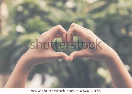 Szív enyém kéz fiatal gyönyörű szőke Stock fotó © jet
